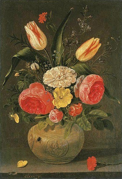 Clara+Peeters+%28Flemish+painter%2C+1594-a+1657%29+Flowers+in+a+Stoneware+Vase